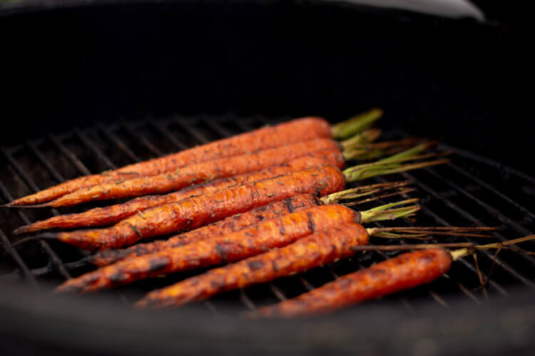 Grilled Carrots Ready to be Removed and Served