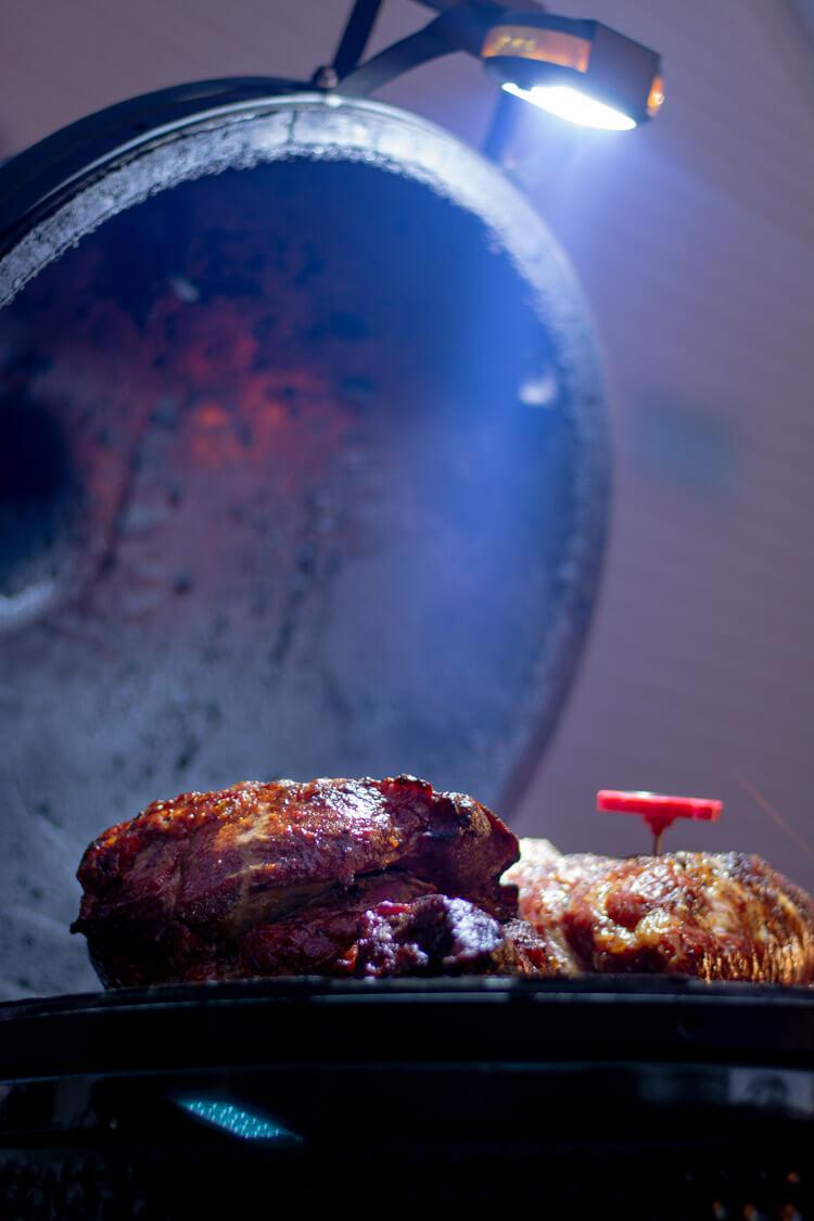 Big Green Egg Light Attachment Illuminating the Grilled Pork Shoulder #GrillLight #BGE #BigGreenEgg #GrilledPork #Grill #BBQ