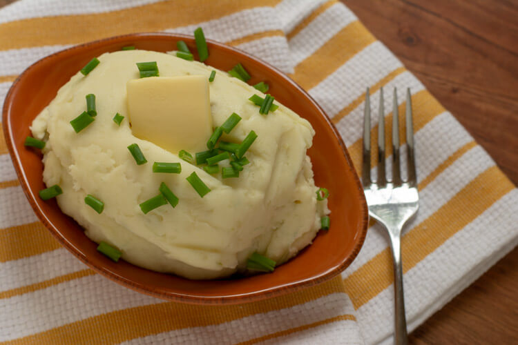 Plated Grilled Garlic Mashed Potatoes with Cream Cheese