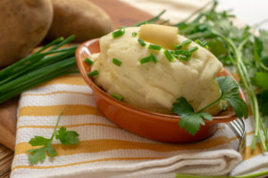 Delicious Roasted Garlic Mashed Potatoes in a Serving Platter