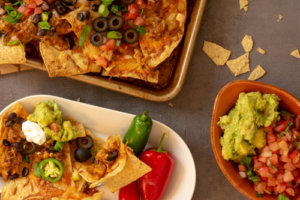 Sheet Pan Nachos with Jalapeños and Peppers