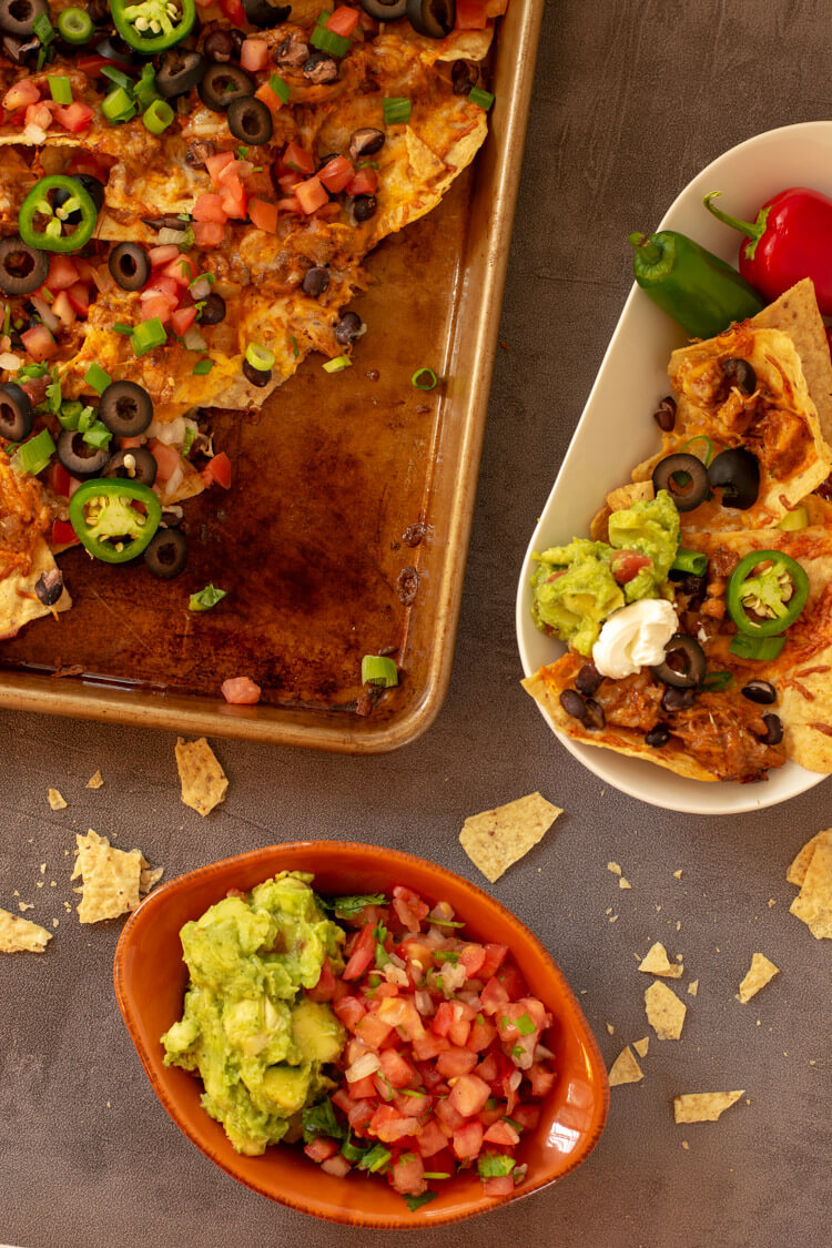 Nachos with Black Olives and Guacamole