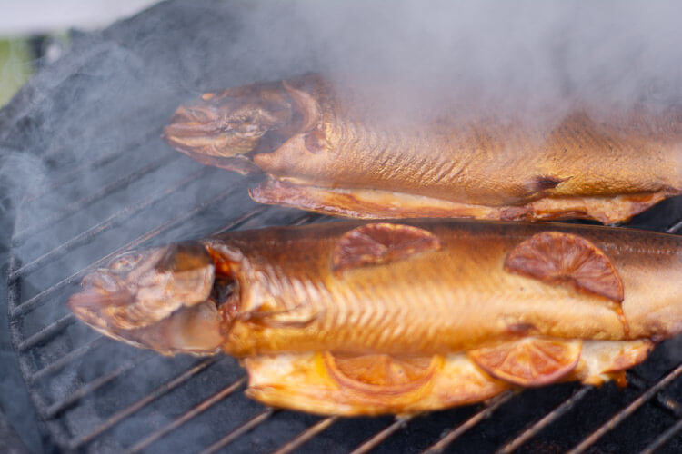Two trout on the Big Green Egg with billowing smoke rising up.