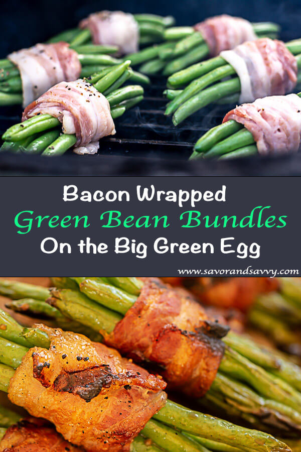 Two image Composition of Green Bean Bundles on the Big Green Egg and the Serving Bundle on a Tray#Asian #GreenBean #Bacon #GreenBeanBundle #BaconWrapped #Grill #BGE #BigGreenEgg #Grilling #GrilledVeggies