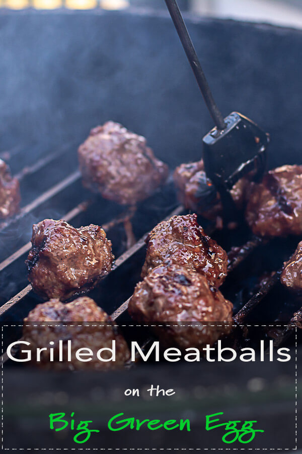 Grilled Meatballs on the Big Green Egg with a Delicious Asian BBQ Sauce #BGE #BigGreenEgg #Grill #Grilled #GrillGrate #Meatballs #GrilledMear