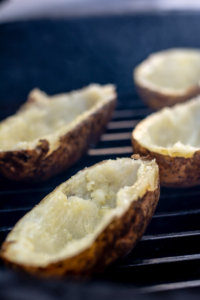 Baked Potato Skins on the GrillGrate on the BGE