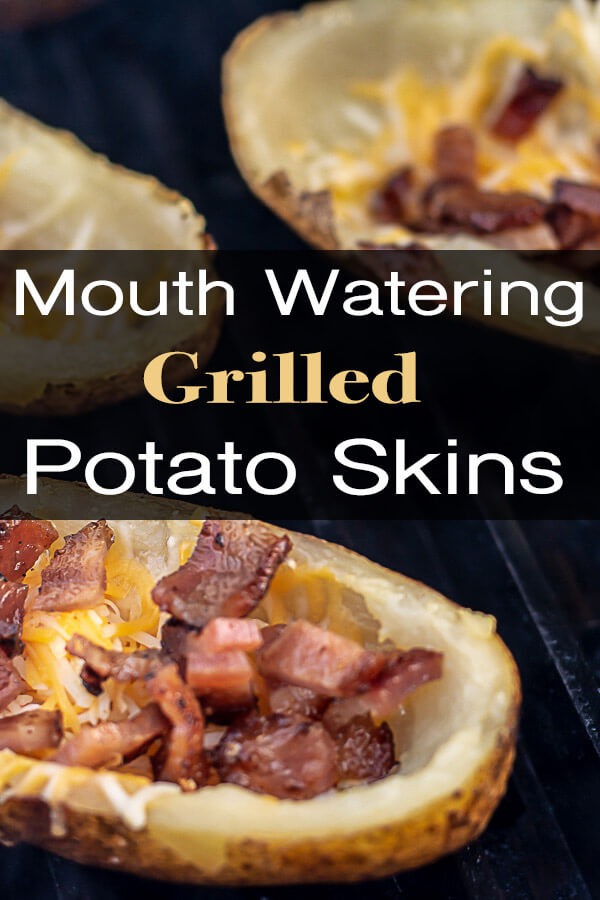 Mouth Watering Grilled Potato Skins Recipe is Sure to Please! Green Onions, Bacon Bits and Loads of Sour Cream make these Fully Loaded Potatoes so Delicious! #BakedPotato #PotatoSkins #FullyLoaded #BaconBits #GrilledPotato #Grill #GrillGrate #BigGreenEgg #BGE