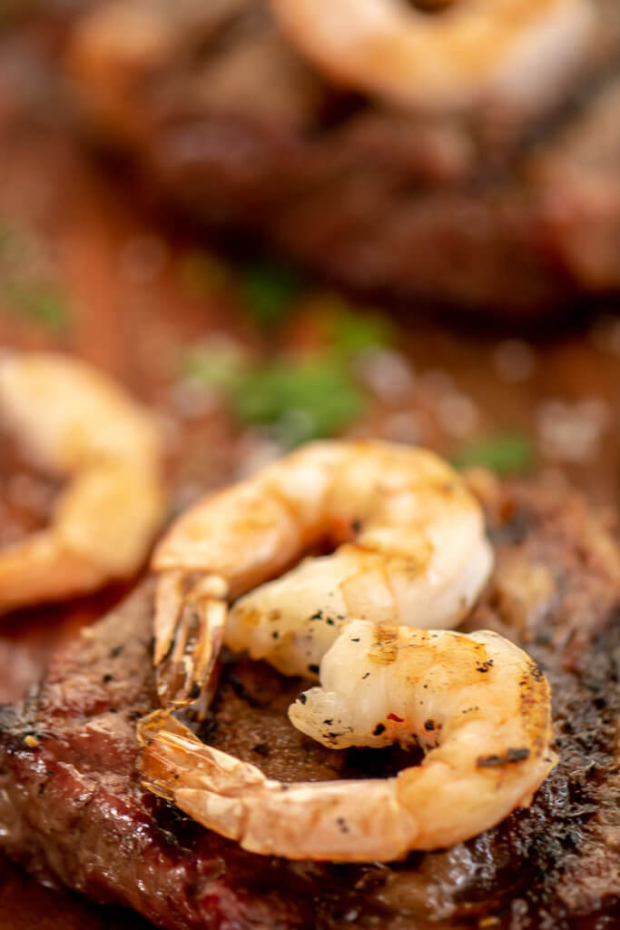 Grilled Steak with a Heart Shaped Shrimp