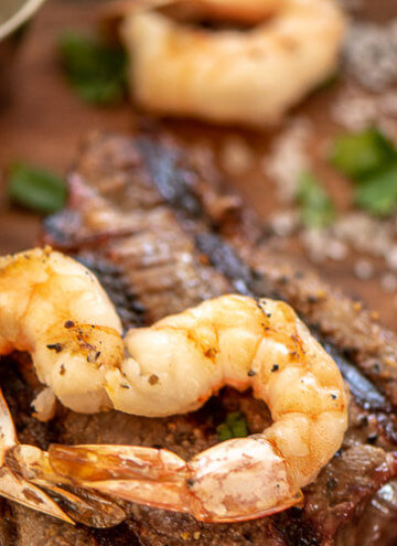 Grilled Steak and Shrimp Heart on a cutting board