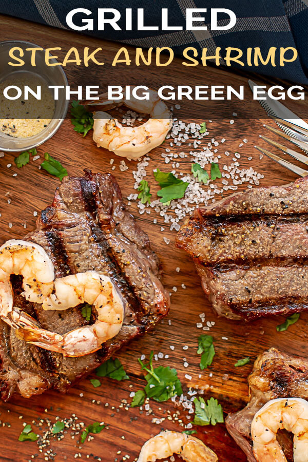 Grilled Steak and Shrimp Made into Hearts are perfect for a romantic dinner for two #Valentines #Grill #grilled #grilling #BGE #BigGreenEgg #surfandturf