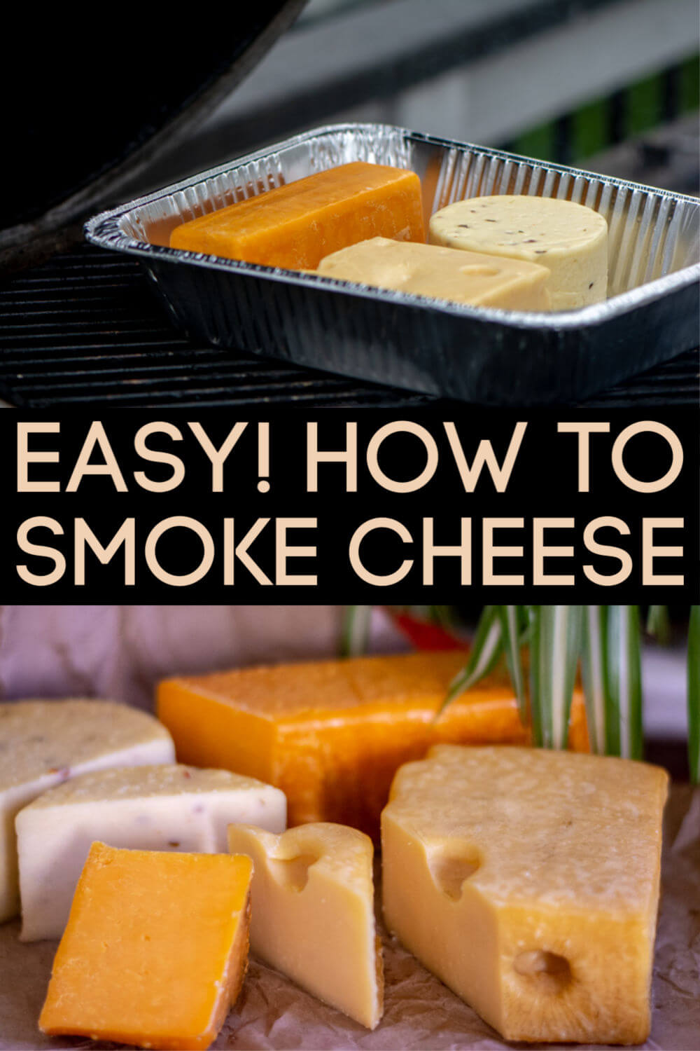Learn the easy steps to smoke cheese on the grill. After smoking your own cheese, you won't ever want to buy store brands again! #smoke #smokedcheese #cheese #BGE #BigGreenEgg #Grill #smoker #cheddar #swiss #pepperjack