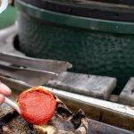 Scoop tomato sauce into the mushroom cap