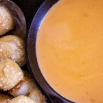 Pan of Smoked Cheese and Beer Dip and Pretzels