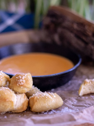 Salted Pretzel Bites and Smoked Cheese and Beer Dip