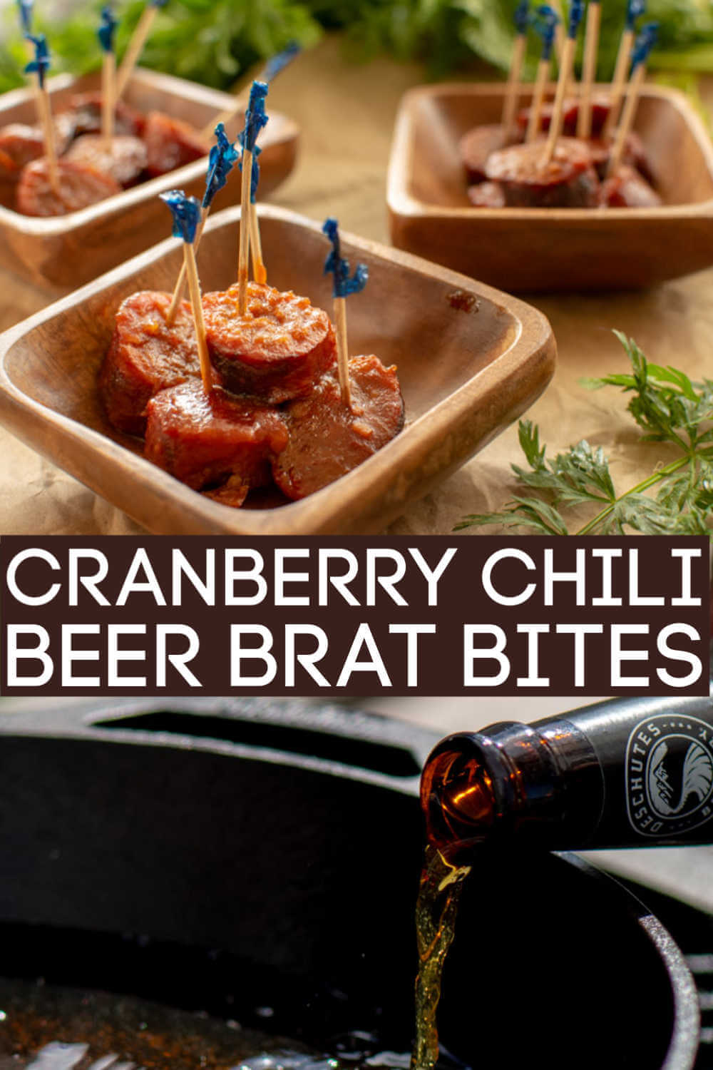 Slow Cooker Grilled Cranberry Chili Beer Brat Bites are a perfect finger food for a fun twist on a classic dish. Two slow cooker ingredients and a delicious dish! #Beer #BeerBrats #ChiliSauce #CranberrySauce #FingerFood