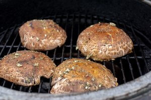 Grill the Portobellos upside down for a few minutes first. Note the herbs and olive oil on the mushroom cap