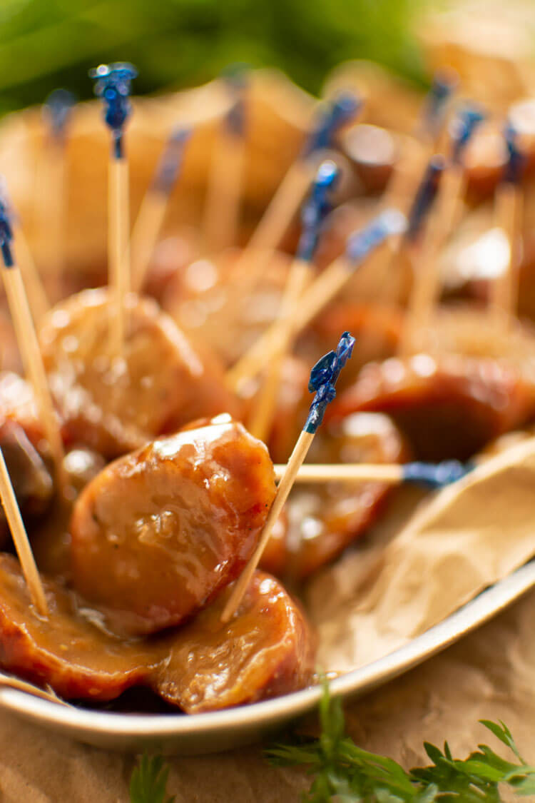 Sliced Beer Brat Bites in a Honey Mustard Sauce with Toothpicks
