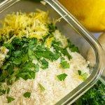 Mix Parmesan, Panko, Garlic, Lemon Zest and Parsley in a glass bowl