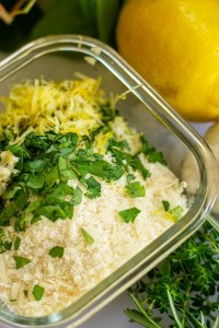 Mix Parmesan, Panko, Garlic, Lemon Zest and Parsley in a glass bowl