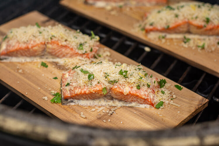 Once the internal temperature reaches 140 degrees, the salmon can be removed from the grill