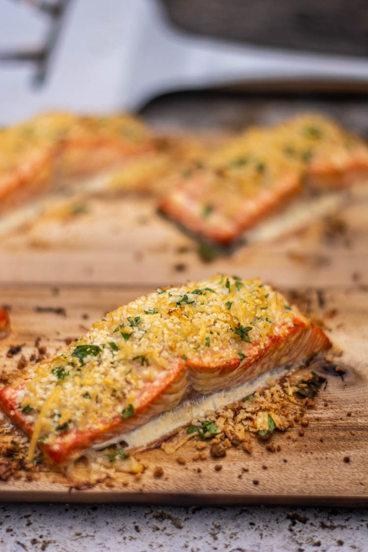 Grilled Garlic Parmesan Salmon on the Cedar Plank after being removed from the grill