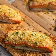 Delicious Salmon filets on the cedar plank on the Big Green Egg table