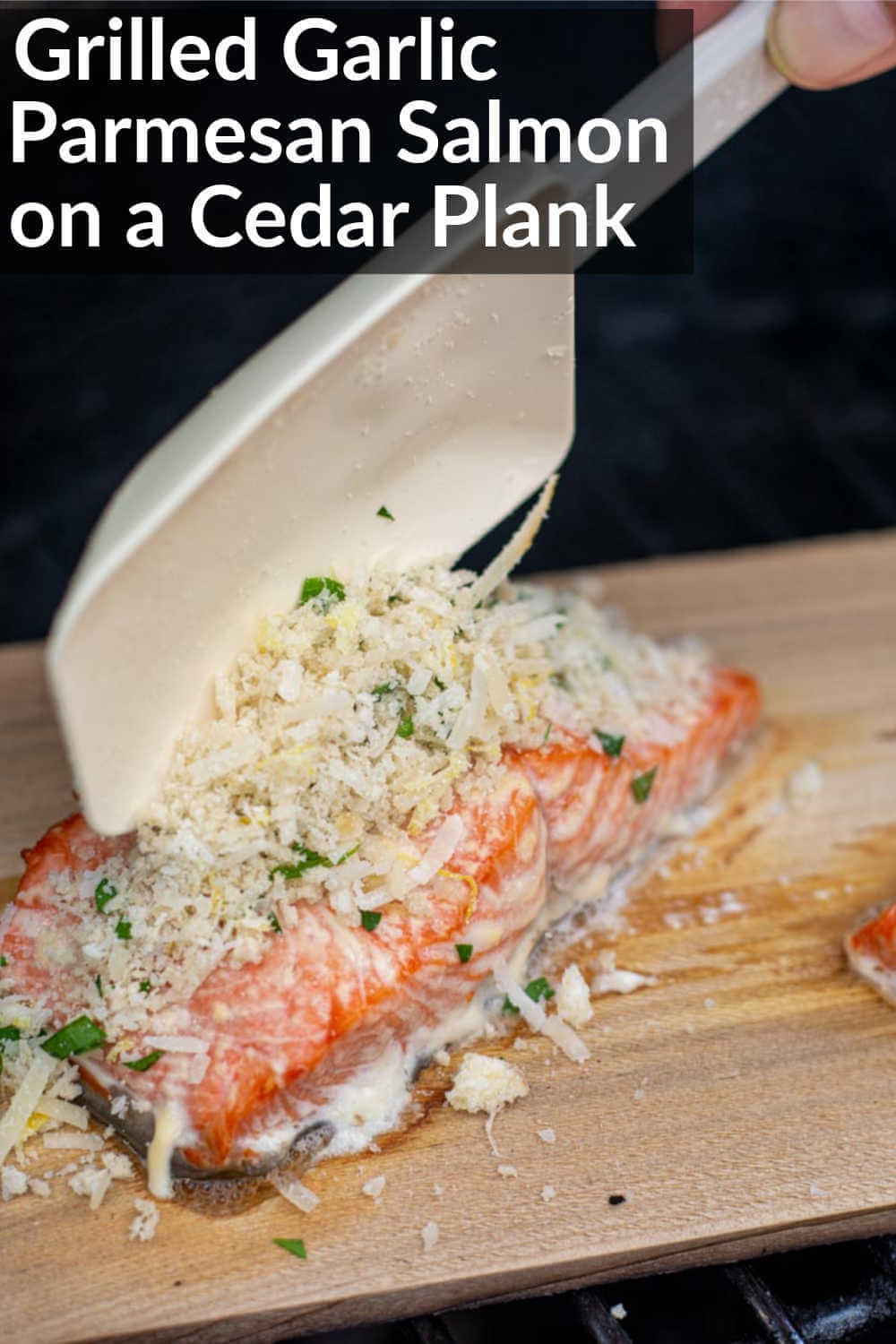 Grilled Garlic Parmesan Crusted Salmon on a Cedar Plank is an extremely easy recipe that tastes like you are at a high end restaurant. Fast and Delicious are a recipe for Success at your next BBQ #BigGreenEgg #Salmon #BGE #Grilled #GrilledSalmon #CedarPlank