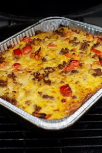 After grilling, the breakfast casserole is ready to be removed from the grill