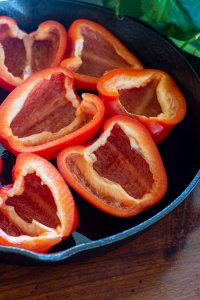 Sliced Peppers in a cast iron skillet