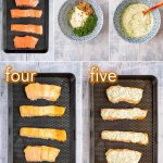five step process of making creamy dill sauce and grilling salmon