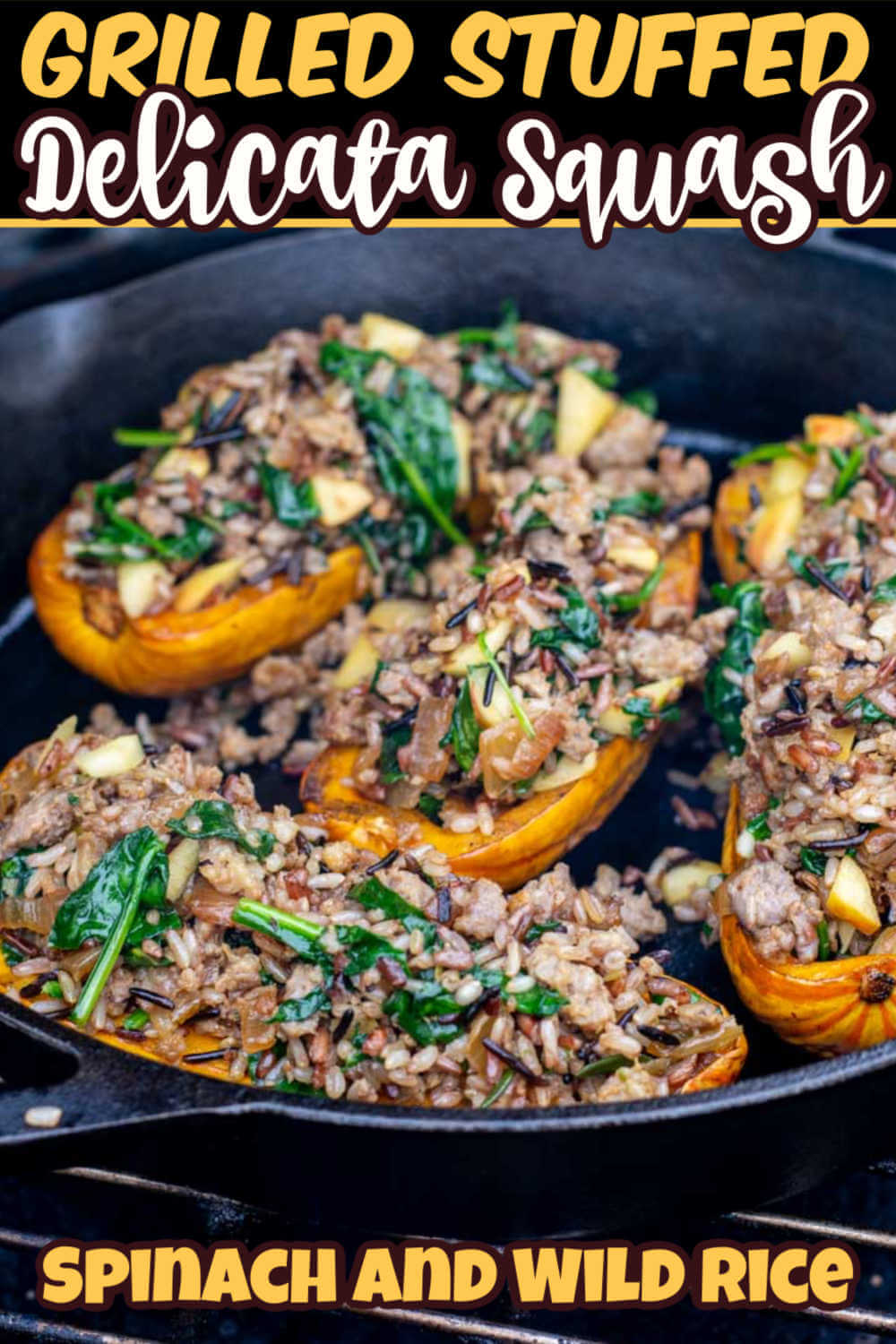 Grilled Stuffed Delicata Squash is a phenomenal dish to make on the grill this fall and winter.  This winter squash is stuffed with wild rice, sausage, apples and spinach to make for a delicious meal! #delicata #Stuffedsquash #squash #grilled #BGE #BigGreenEgg