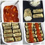 Four images showing the creation of the vegan grilled eggplant rollatini including spreading the marinara sauce, stuffing the grilled eggplant, rolling them up, and topping with more marinara sauce