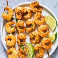 Cilantro Lime Air Fryer Shrimp Skewers + Grill Version {Gluten-Free, Low Carb, Keto, Paleo, Whole 30}