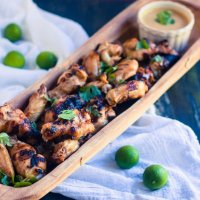 Grilled Asian Chicken Wings with Peanut Sauce