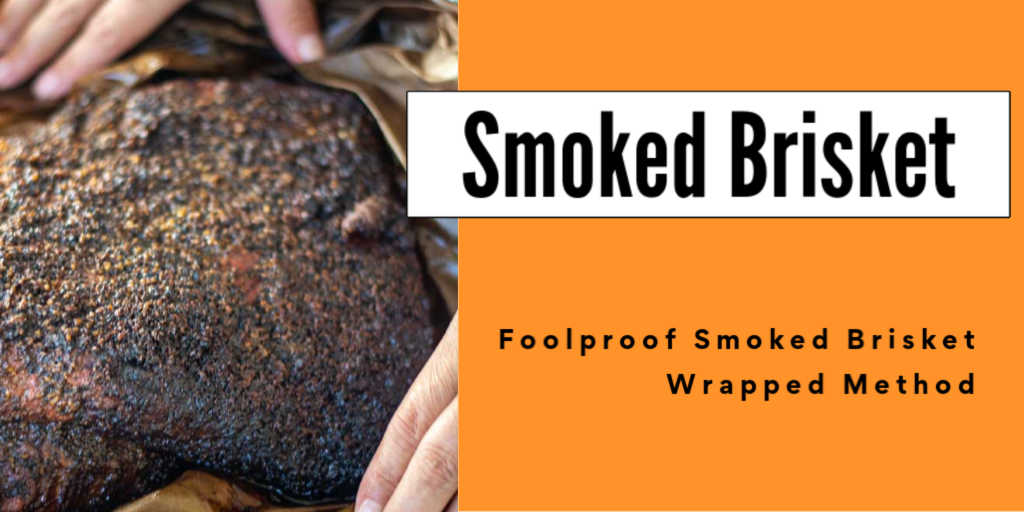 unwrapping a smoked brisket from the foil and butcher paper with text box