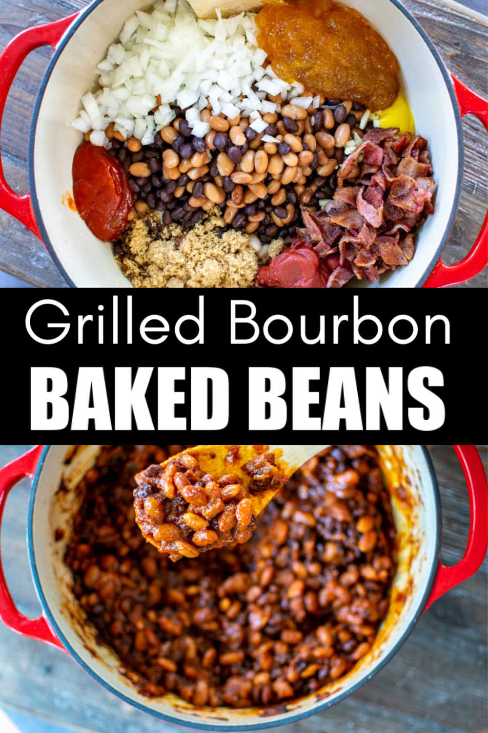 Grilled Bourbon Peach Baked Beans