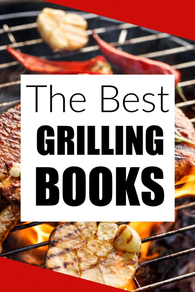 Grilled steaks and vegetables with a box that reads the best grilling books
