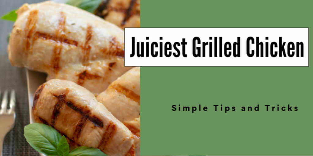 plate with seared grilled chicken breasts and a text box
