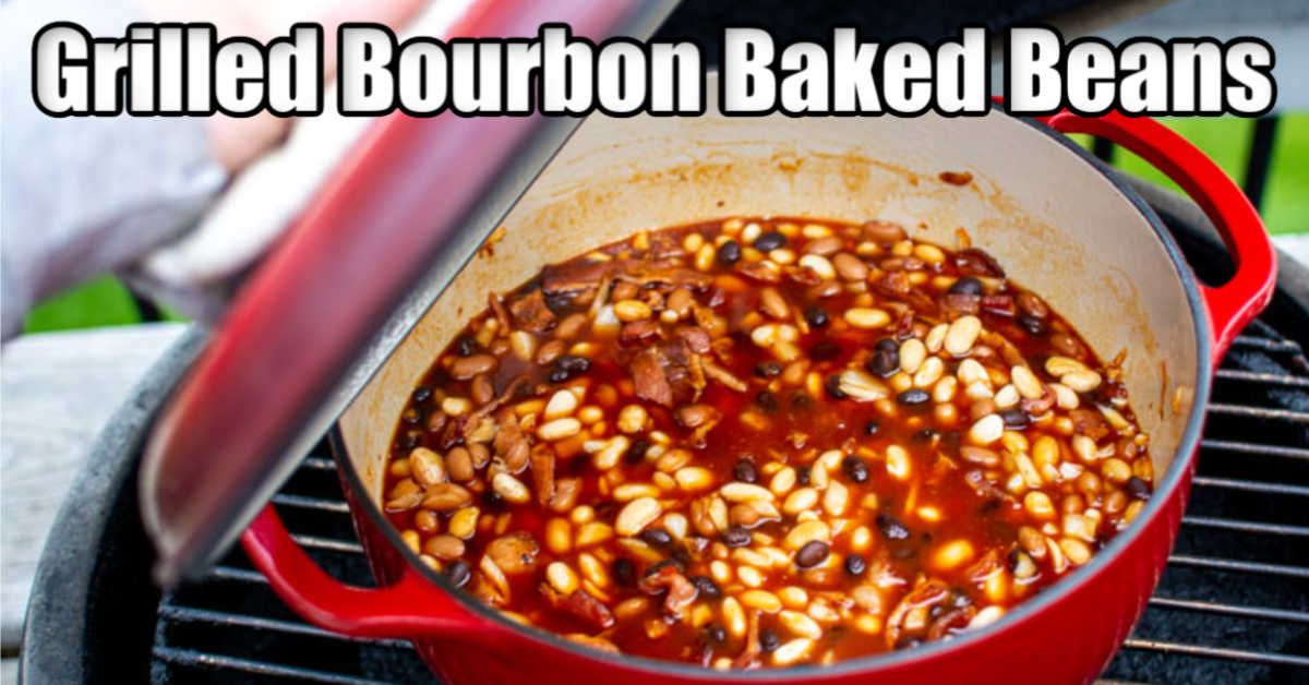 baked beans in a dutch oven on the grill