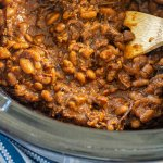 thickened brisket baked beans after spending the day in the slow cooker