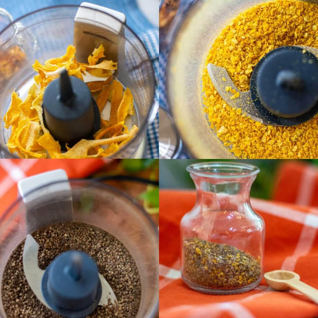 four images showing grinding peppercorns, lemon peel and combining to make an all-natural dry rub