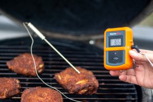 Holding a thermoworks wireless remote thermometer with a probe stuck into the chicken thigh and the temp read165 degrees