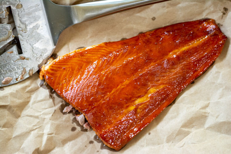 Honey basted smoked salmon on a butcher paper