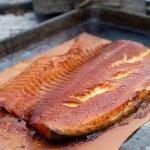 honey basted smoked salmon on the big green egg table
