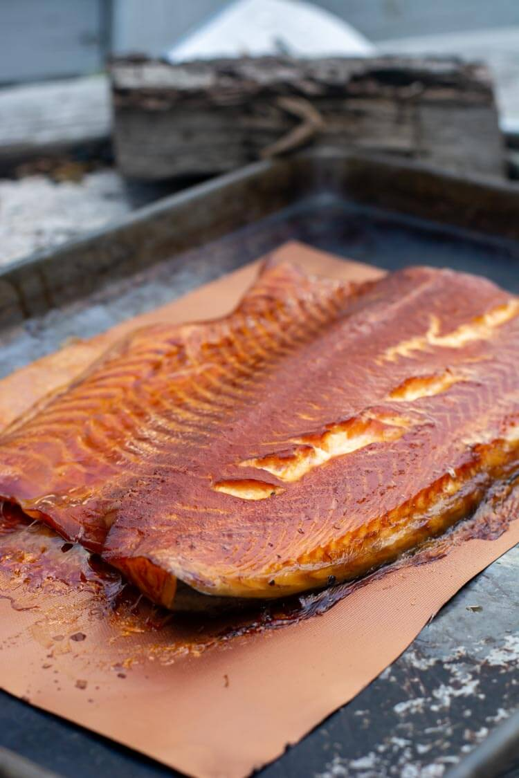 honey basted smoked salmon on the big green egg table