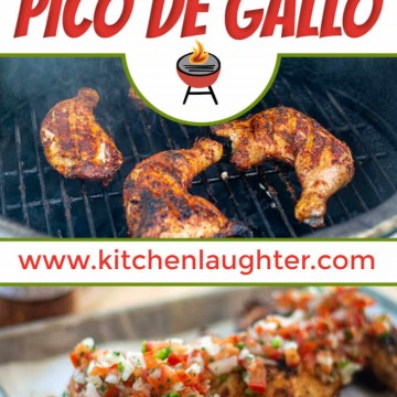 grilled chicken quarters on the big green egg over a photo of pico covered chicken