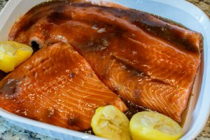 marinating the salmon in the brown sugar and lemon juice overnight