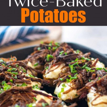Shredded brisket on top of twice baked potatoes for a fun grilled side dish