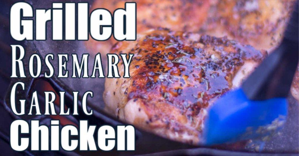 rosemary garlic chicken thigh in a cast iron skillet