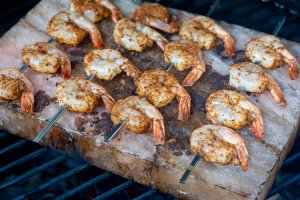 grilled shrimp on the salt block